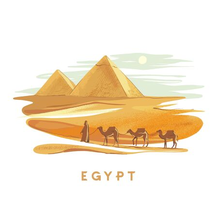 Colorful hand drawn vector illustration pyramids of Giza with camels on backdrop, Egypt hand drawn in white background. Design for the touristic agency.