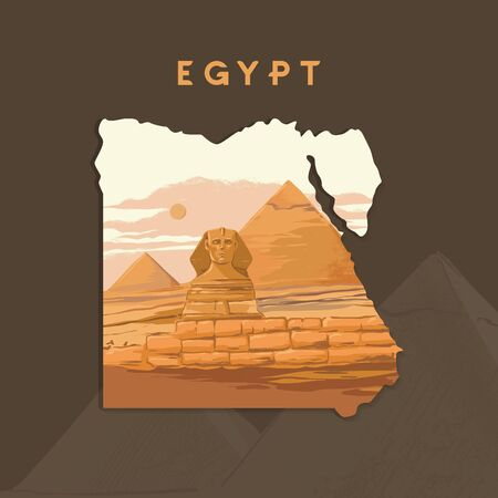 Vector illustration of the Great Sphinx in Giza inscribed on the map of Egypt with the pyramids of Egypt. Illustration