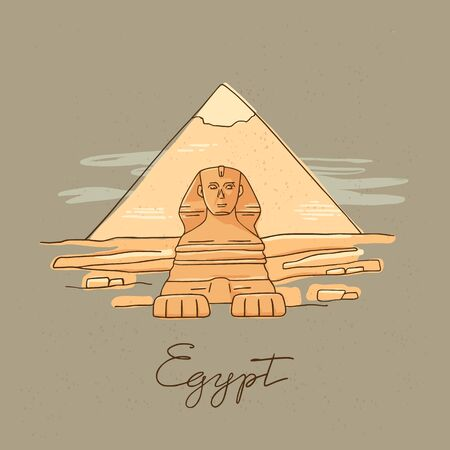 Vector icon of Great Sphinx of Giza isolated on the hand-drawn vector illustration of the pyramids of Egypt. In a cartoon style. Illustration