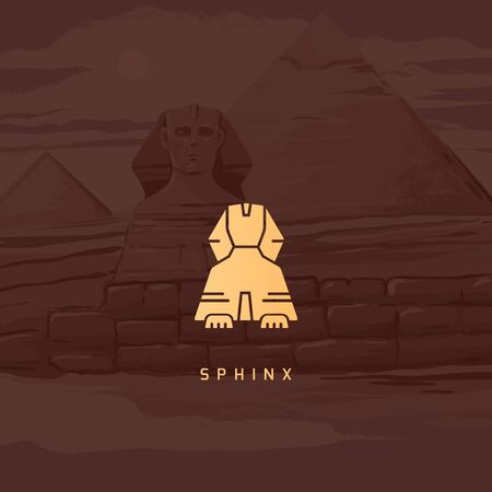 Vector icon of Great Sphinx of Giza isolated on the hand-drawn vector illustration of the pyramids of Egypt.