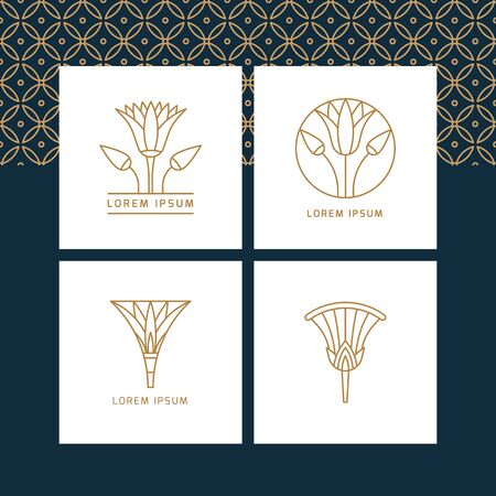 designs in the form of an Egyptian lotus flower. Vector illustrations in linear style based on Egyptian symbols. 일러스트
