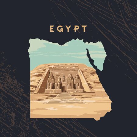 Vector illustration of the Great Sphinx in Giza inscribed on the map of Egypt with the pyramids of Egypt. Çizim