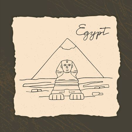 Vector icon of Great Sphinx of Giza isolated on the hand-drawn vector illustration of the pyramids of Egypt. In a cartoon style. Иллюстрация