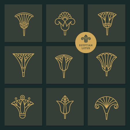 designs in the form of an Egyptian lotus flower. Vector illustrations in linear style based on Egyptian symbols. Vektoros illusztráció