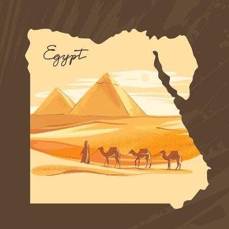 Vector illustration of the Great Sphinx in Giza inscribed on the map of Egypt with the pyramids of Egypt.  イラスト・ベクター素材