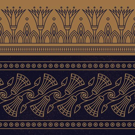Seamless vector illustration based on the Egyptian national ornament with lotus flower in a linear style on brown background.