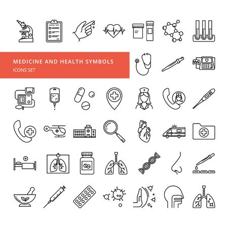 A set of vector icons in a linear style on the theme of health and medicine. A large set of isolated on a white background symbols of medical subjects and human treatment. Иллюстрация