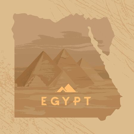 Vector illustration of the Great Sphinx in Giza inscribed on the map of Egypt with the pyramids of Egypt.