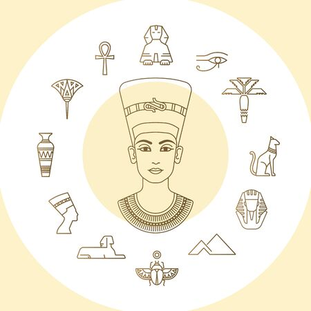 Set of vector Egypt symbols icons and graphics elements with landmarks, traditional signs and famous Egyptian symbols with illustration the queen of Egypt Nefertiti in profile. Ilustração