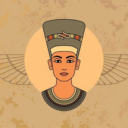 A colorful vector image of the queen of Egypt Nefertiti profile isolated on a background of the Egyptian symbols.