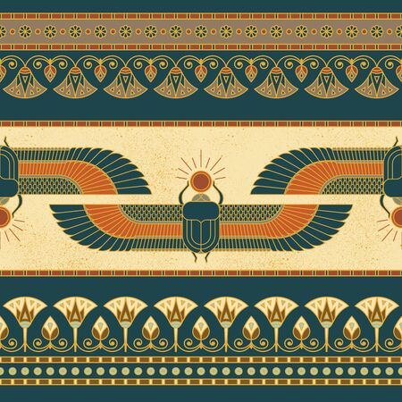 Symbols of ancient Egypt with an illustration of a woman with wings, lotus, horizontal seamless pattern and other symbols.