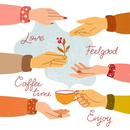 Womens hands are drawn and isolated in the background with signatures. Vector EPS10 in color.