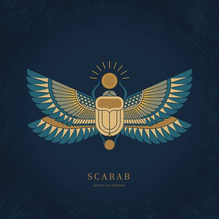 Colorful illustration of the Egyptian scarab beetle, personifying the god Hepri with seamless horizontal patterns. Symbol of the ancient Egyptians.