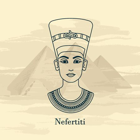 A vector illustration of the queen of Egypt Nefertiti profile isolated on a background of the Egyptian pyramids. Stock Illustratie