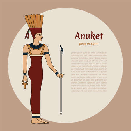 Egyptian goddess Anuket. The woman is holding a staff. On the head are ostrich feathers. Ankh. Vector illustration. Vector illustration with place for the text.