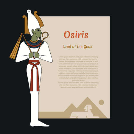 Ancient Egypt template with place for text. With illustrations of the gods of ancient Egypt Osiris. Vector illustration
