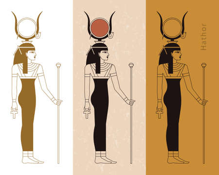 A collection of vector illustrations by the ancient Egyptian goddess Hathor from the ankh. Vector illustration