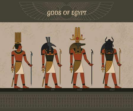 Symbols of ancient Egypt Egyptian winged sun, gods Thoth, Anhur, Sobek, Khepri, and other symbol of Egyptian. Vector illustration. 向量圖像