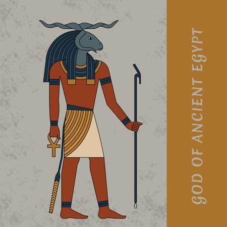 God of Ancient Egypt Khnum. Egyptian ancient symbol, isolated figure of ancient Egypt deities. Vector illustration 向量圖像