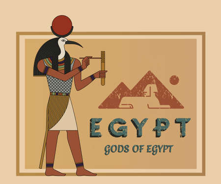The ancient Egyptian god Ra painted against the background of the map of Egypt with pyramids. A vector illustration of ancient Egypt from flat elements isolated in the background. Vector illustration.