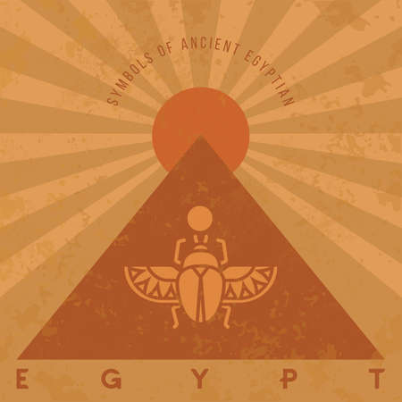 Symbols of ancient Egypt in an old style. Scarab beetle, pyramid and sun. Vector illustration