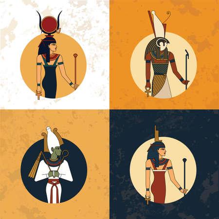 Illustration of the gods and symbols of ancient Egypt isolated against the vintage background. Egyptian gods and goddess Hathor, Horus, Osiris and Isis. Vector illustration Gods of Egypt.