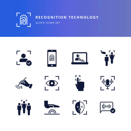 Set of glyph icons - biometric authorization, identification and verification symbols. Fingerprint recognition, eye and palm scanning, face and voice authentication. Vector icons on a white background. Vector Illustration