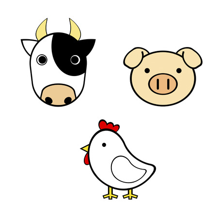 Cow, pig and chicken 写真素材