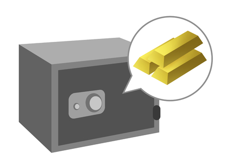 There is a gold block in the safe.