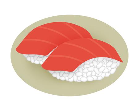 Hand-shaped tuna sushi