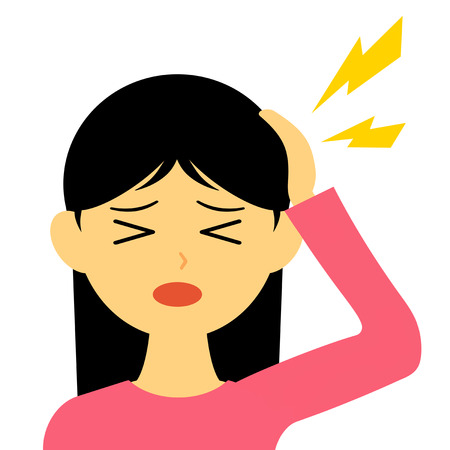 The lady who suffers from a headache. Banco de Imagens - 119822775
