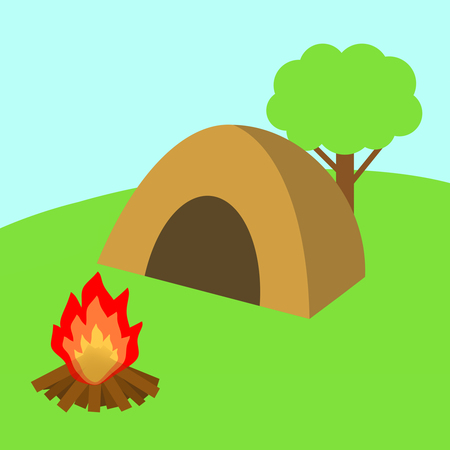 There are a tent and a bonfire at the campsite.