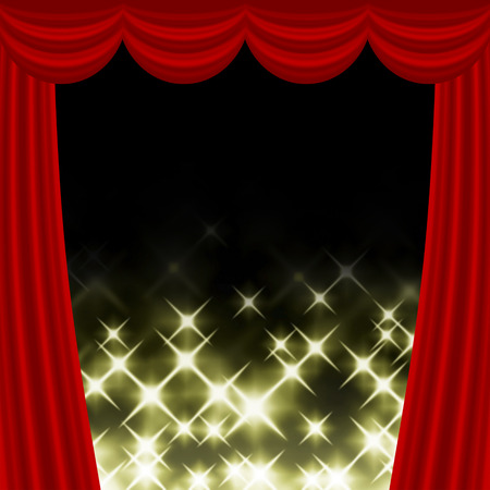 The center of the thick curtain is shining.