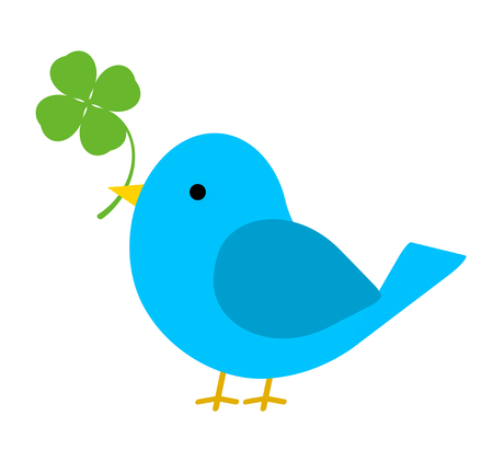 A blue bird is holding a clover in its mouth.