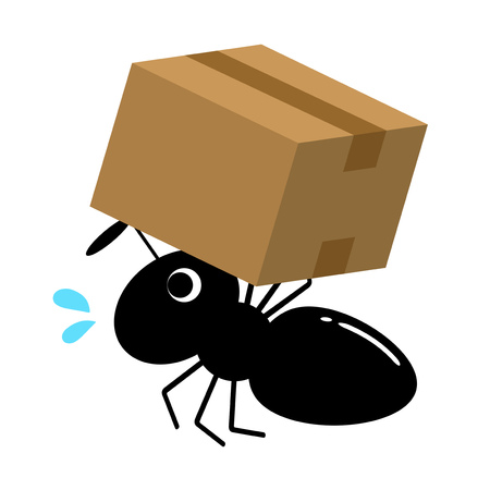 A worker ant is carrying the baggage. 写真素材