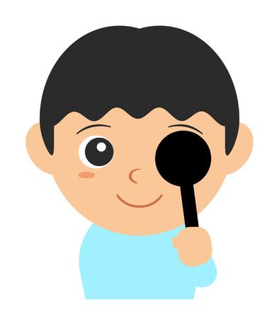 A child is testing his eyesight. 写真素材