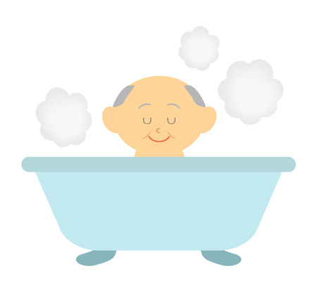 A grandfather is relaxing at a hot spring. 写真素材