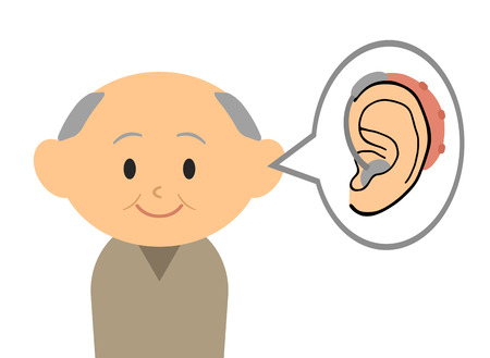 The grandfather who put on a hearing aid. Banco de Imagens