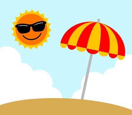 Sun and a beach umbrella Foto de archivo - 119824940