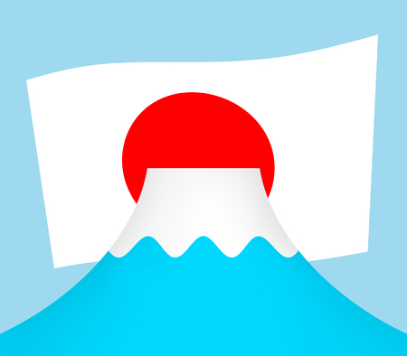 Mt. Fuji and a Japanese national flag