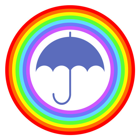 Ring of a rainbow and umbrella. 写真素材