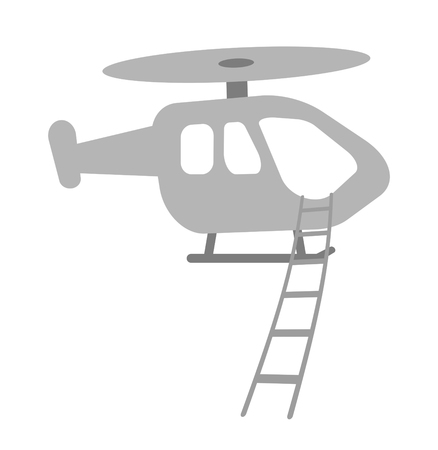 A helicopter suspends a rope ladder.