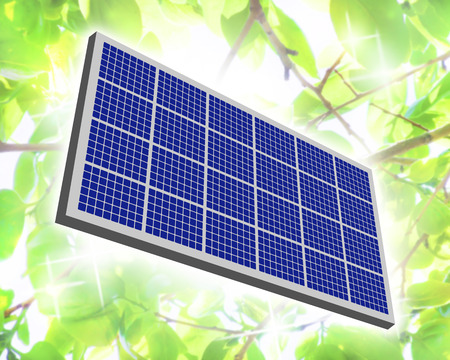 Solar panel in the forest. Stock Photo