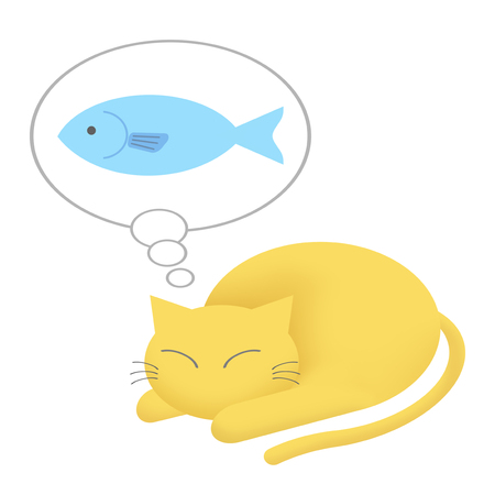 A cat imagines fish.