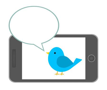 Birds murmuring in smartphone.