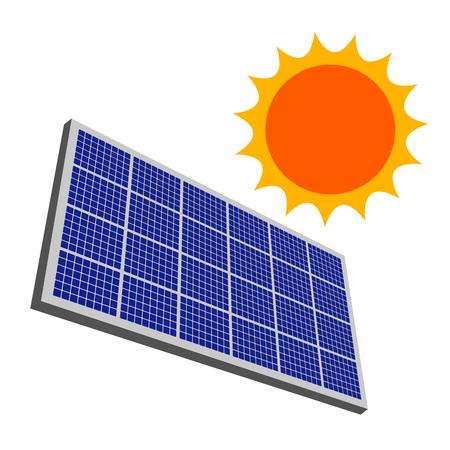 Sun and a solar panel Stok Fotoğraf