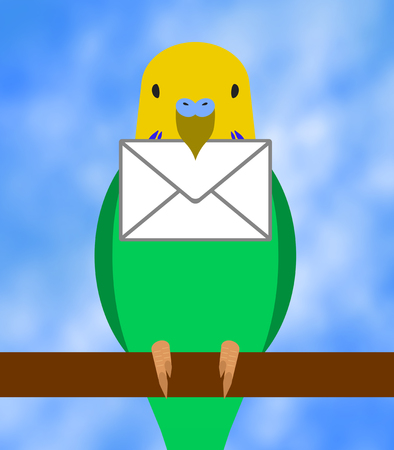 The budgerigar which holds a letter in its mouth 写真素材
