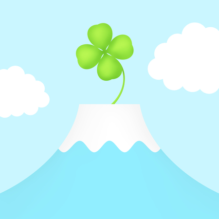 A clover grows from Mt. Fuji.