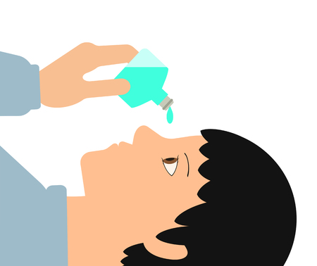 Eye drops are used. Banco de Imagens - 119835346