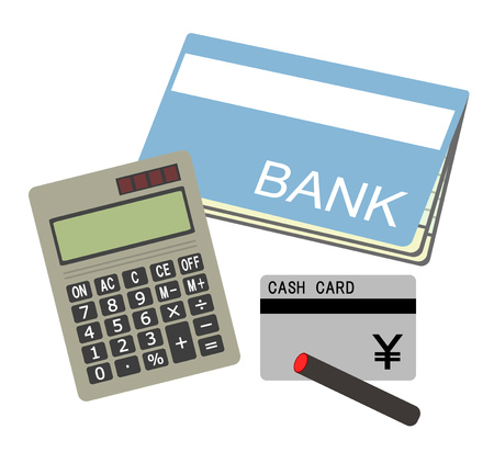 Bankbook, a calculator and a card